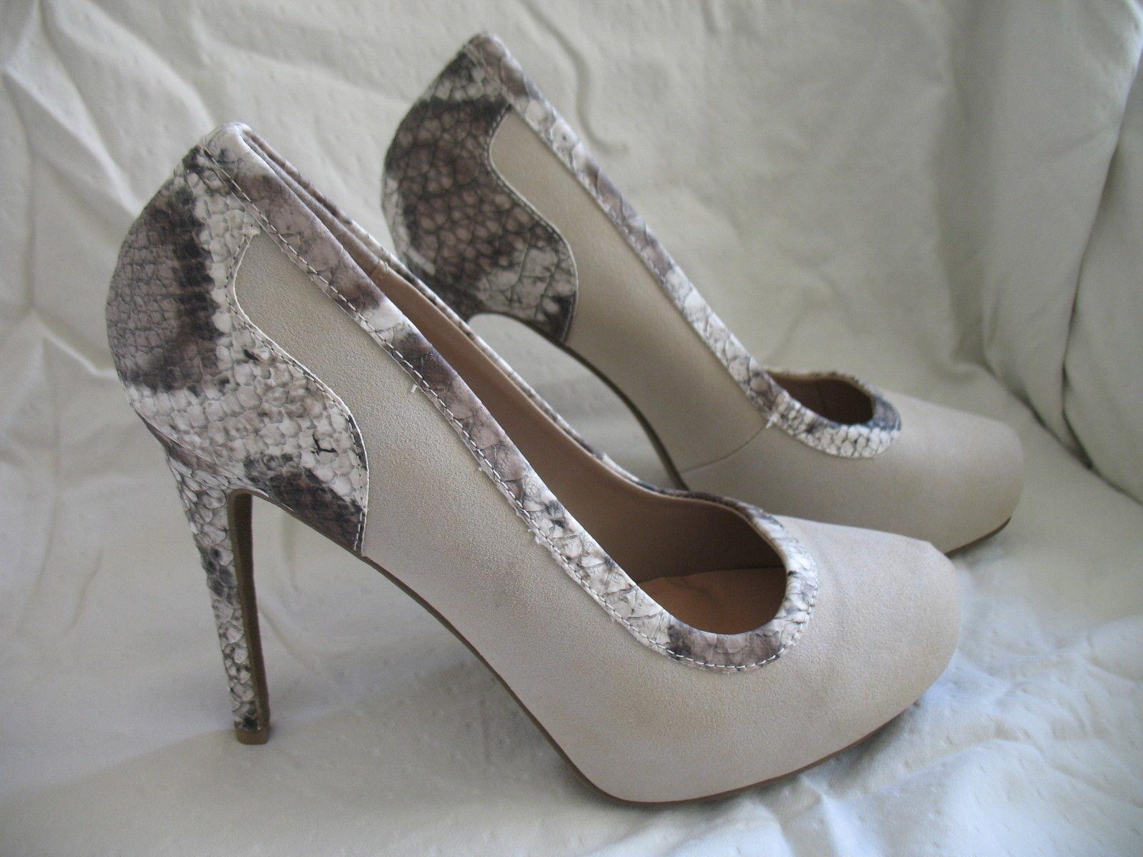Forever Paula Abdul Size 8 Exotic Print Pump New High Heel Beige Avon Club Style