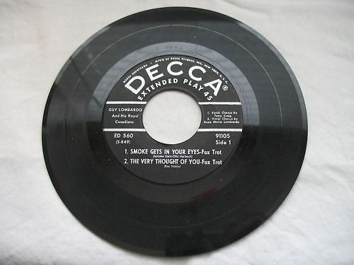 Guy Lombardo 45 Rpm Decca Records EP 45 Item 91105 Fox Trot Songs Vintage Vinyl