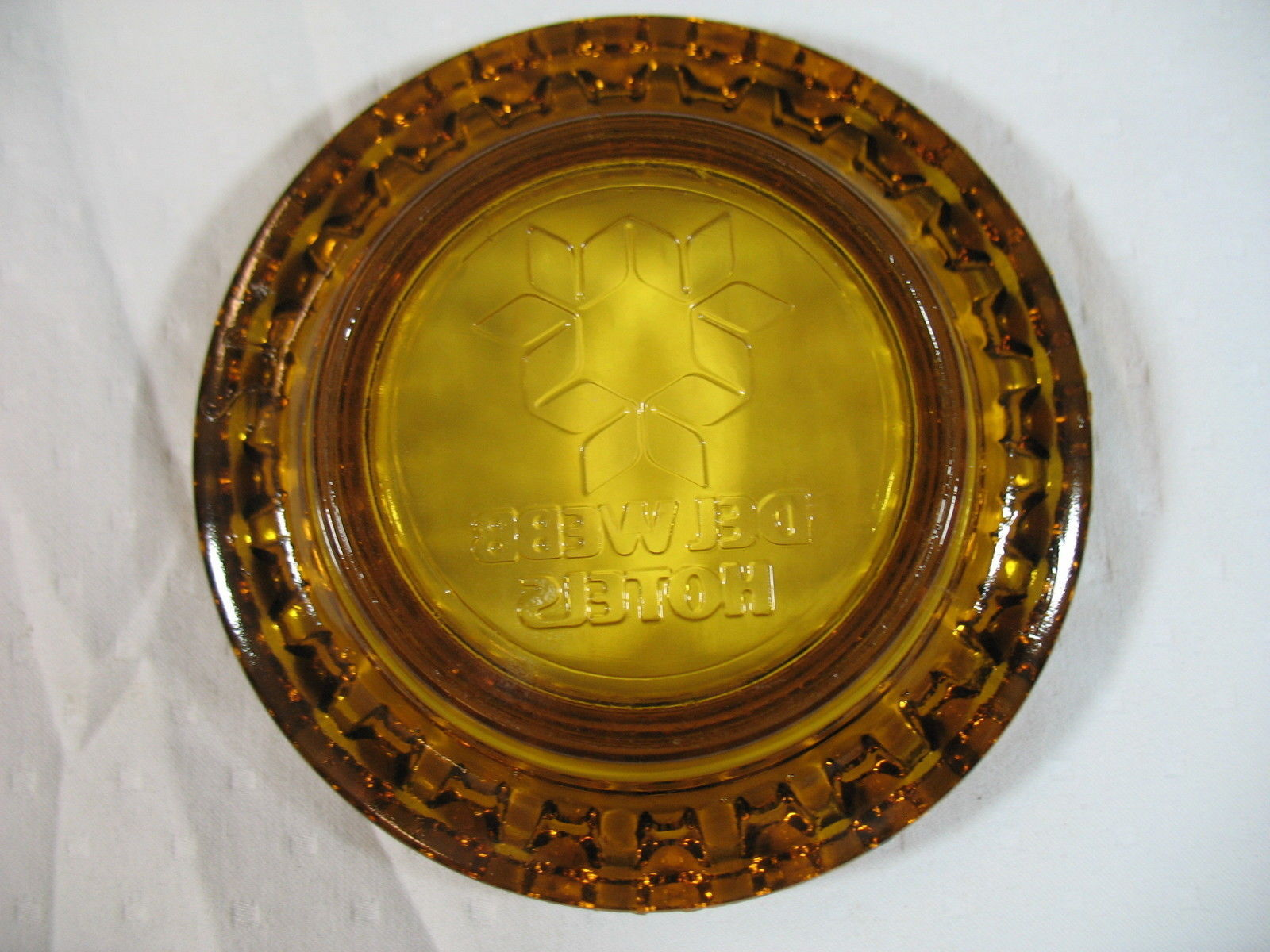 Del Webb Hotels Ashtray Amber Glass Vintage Collectible Excellent Condition