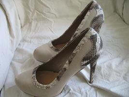 Forever Paula Abdul Size 8 Exotic Print Pump New High Heel Beige Avon Club Style image 9