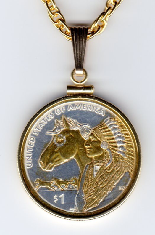 Native American U.S. Sacagawea dollar Gold on Silver Coin Pendant Necklace