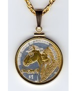 Native American U.S. Sacagawea dollar Gold on Silver Coin Pendant Necklace - $125.00