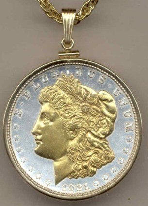 U.S.Morgan Silver dollar minted1878 - 1921 Gold & Silver Coin Jewelry Pendant