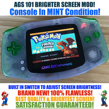 Nintendo Game Boy Advance GBA Blue System AGS 101 Brighter Backlit Mod S... - $123.65