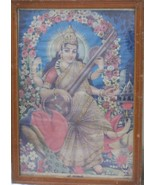 Vintage Print of Lord Saraswati Maa Beautiful Original Framed Unique Col... - $123.89