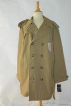 New London Fog Men's Trench Coat Khaki Beige Long  Rain Coat Size 44 Short - $93.14
