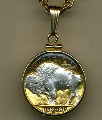 "Buffalo nickel ""Sacred White Buffalo""  Gold & Silver Coin Pendant Necklace"