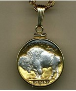 "Buffalo nickel ""Sacred White Buffalo""  Gold & Silver Coin Pendant Necklace - $91.00"