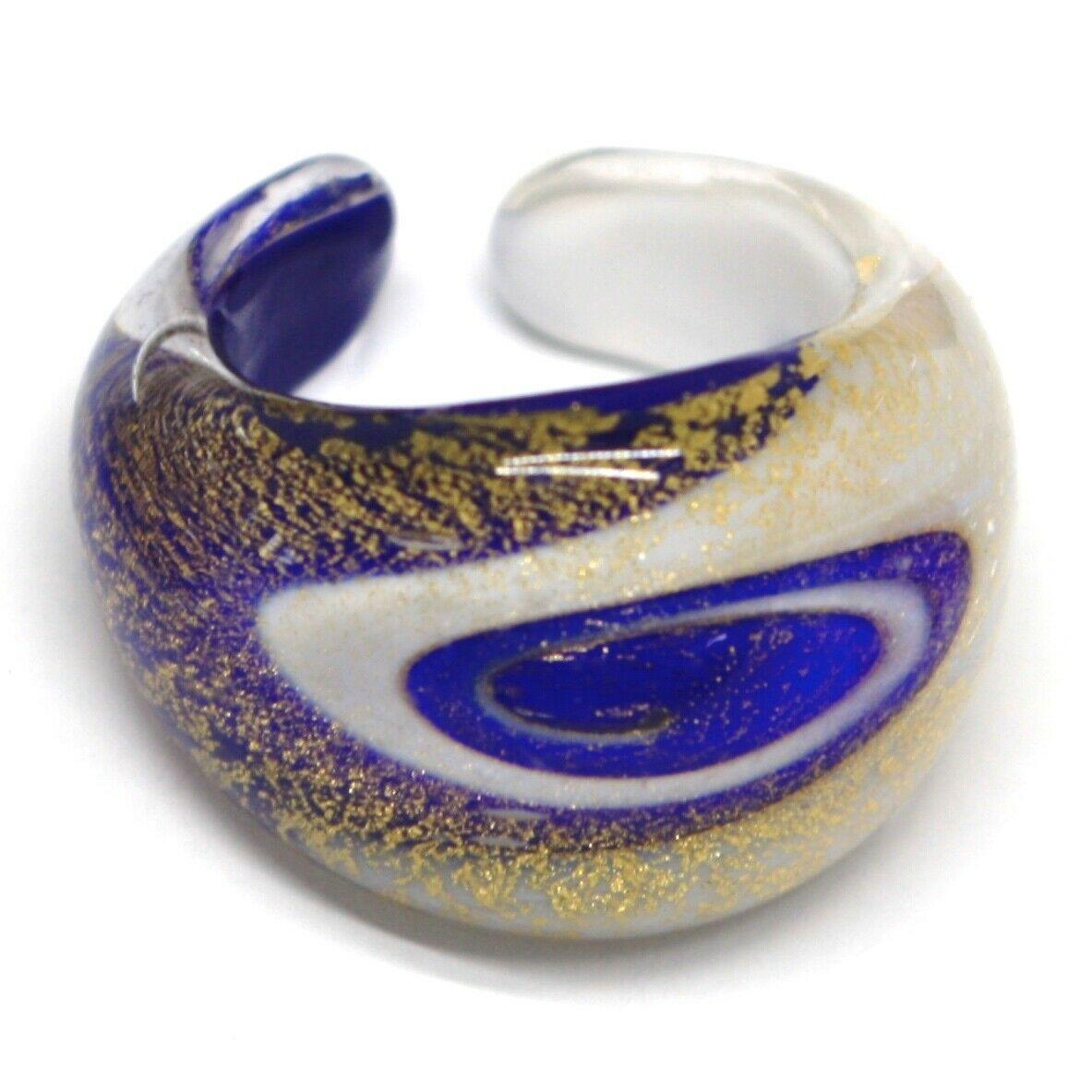 Ring Antique Murrina, Murano Glass, Leaf Golden, Blue White, Spiral