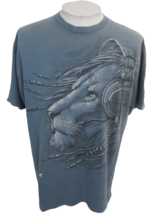 Delta Pro Weight T Shirt XL mens Lion with Head phones headset Cotton bl... - $15.83