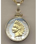 Indian head penny (minted 1859 - 1909 gold on silver coin pendant necklace - $86.00