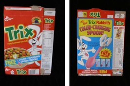 Trix Color Changing Spoon Vintage Cereal Box Flat Empty Box - $16.99