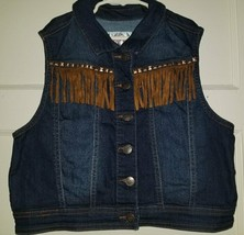 JUSTICE Fringed and Rivets Denim Vest Girls Size 16-18 - $5.84