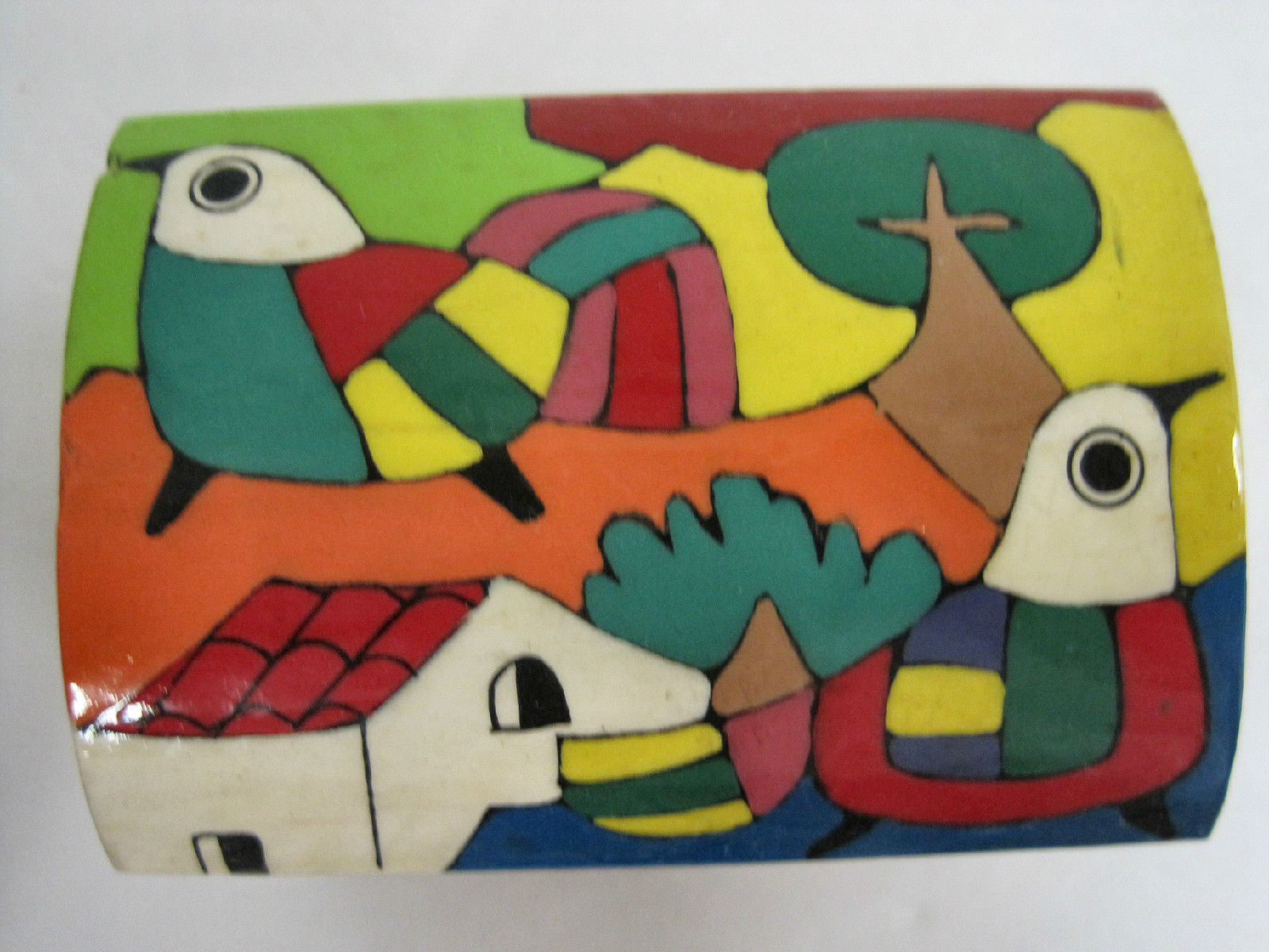Ethnic Latin Mexican Folk Art Craft Hand Painted Wood Trinket Box Leather Hinges