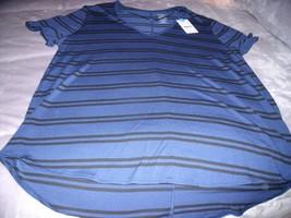 NEW Womens XL GEORGE Blue & Black Stripe TOP V Neck S/S Perfect Under Ca... - $12.55