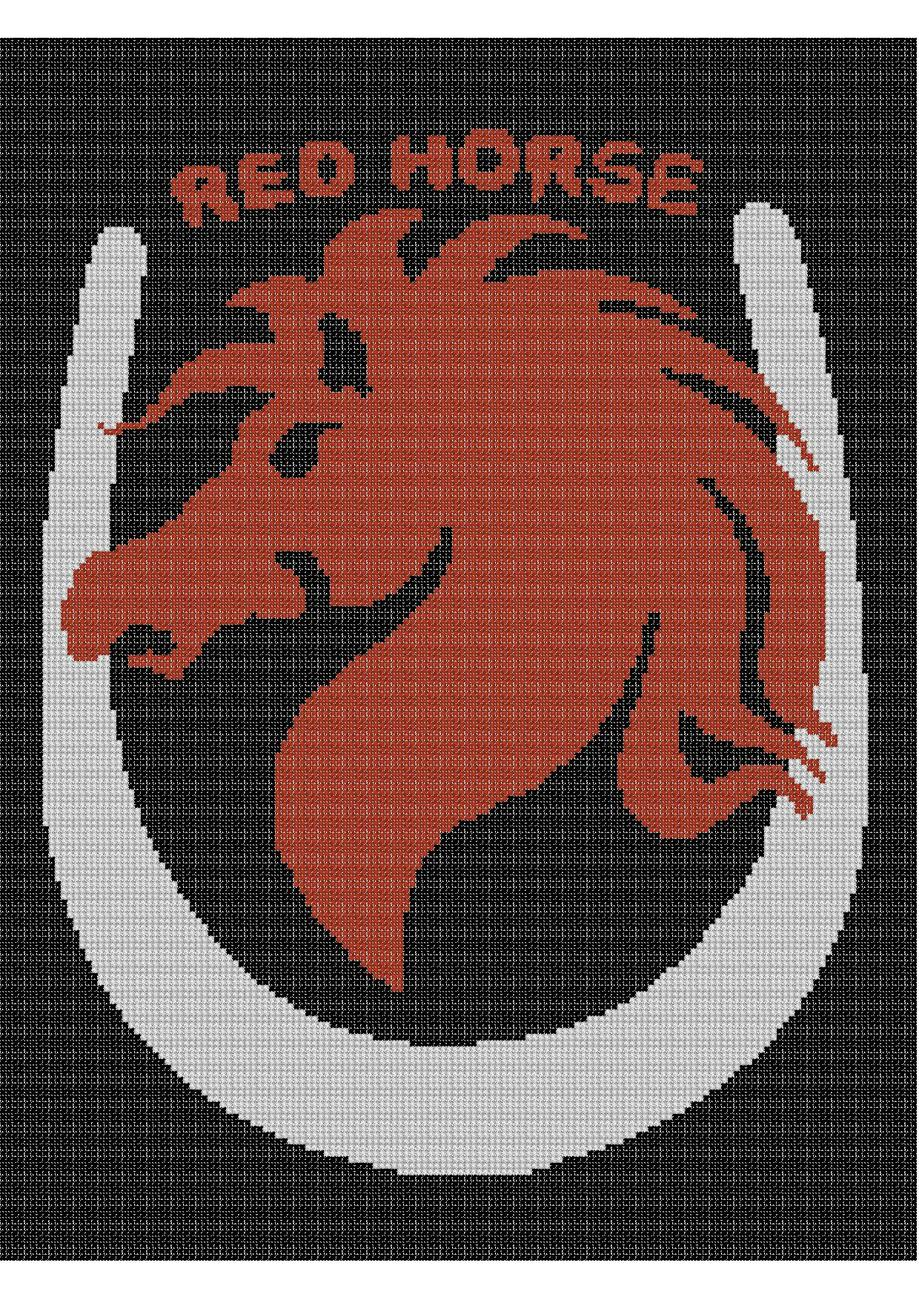 Red Horse Color Graph Afghan Pattern