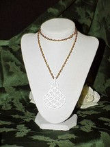 "1960's Trifari White Mod Filigree Shield Pendant Necklace 24"" Gold chain... - $14.84"
