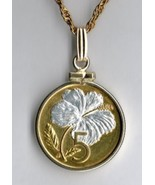 "Cook Islands 5 cent ""White Hibiscus"" gold on silver coin pendant necklace - $71.00"