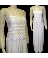 80s wedding dress ivory crepe with lace bodice long small - $38.50