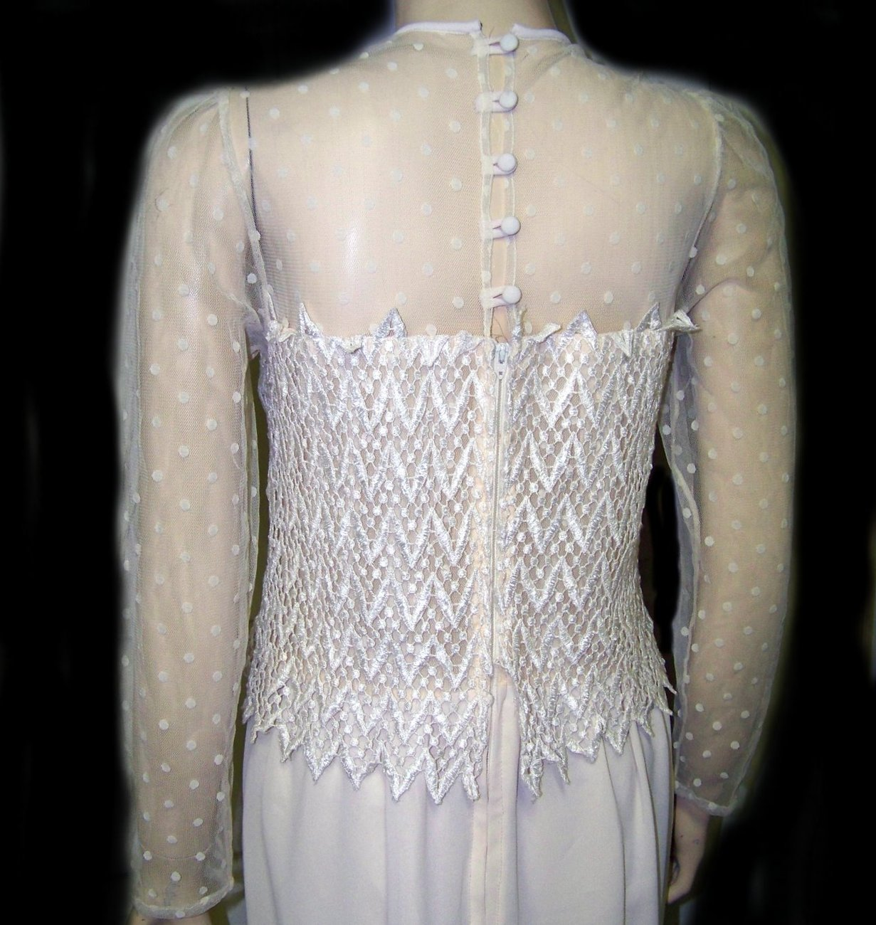 80s wedding dress ivory crepe with lace bodice long small