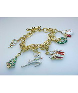 CHRISTMAS CHARM BRACELET in Gold Vermeil 925 Sterling Silver - 7 1/4 inches - €74,94 EUR