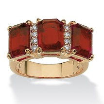 Birthstone and CZ 14k Gold-Plated Ring-January - Simulated Garnet - $25.82