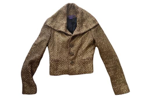 Brown Gold Ralph Lauren Collection Women Blazer Coat Jacket Sz 4 Made in USA