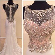 Women's A-line High Neckline Prom Dress Sheer Back Long Beaded Evening Gown 2018 - $168.99