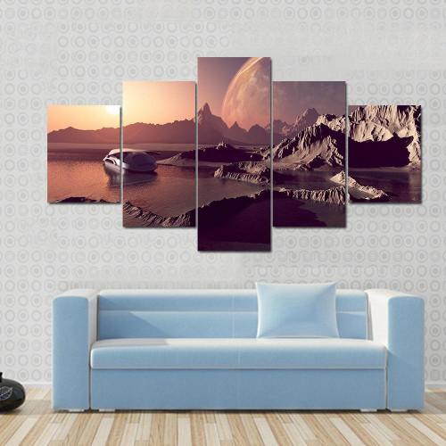 Terrain Home Decor: Framed 5 Piece Mountainous Terrain Painting Printed Canvas