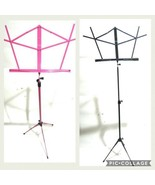 Set of 2 Black and Pink On Stage Adjustable Folding Music Sheet Stands - $27.88
