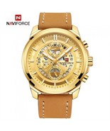 NAVIFORCE 9129 Men's Sports PU Leather Wrist Quartz Watch - Gold (With G... - $38.13