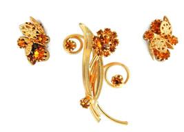 Vtg light amber topaz rhinestone brooch pin clip on earrings jewelry set - $16.61