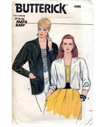 Butterick 4986 Misses Loose-fitting Jackets Cardigans Variation 8,10,12 ... - $7.47