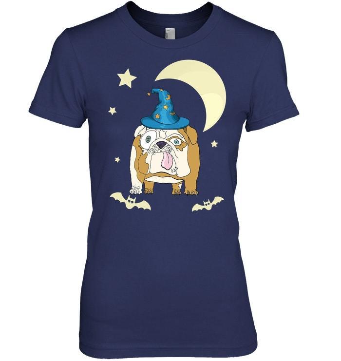 Funny English Bulldog Dog Witch Halloween Tshirt