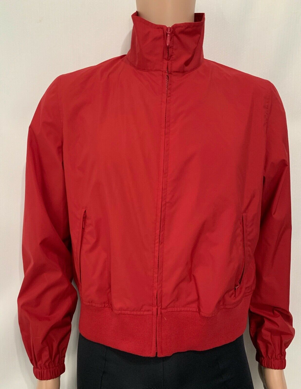Women TOMMY HILFIGER Jeans RAIN Jacket Coat Windbreaker Pockets RED No Lining XL