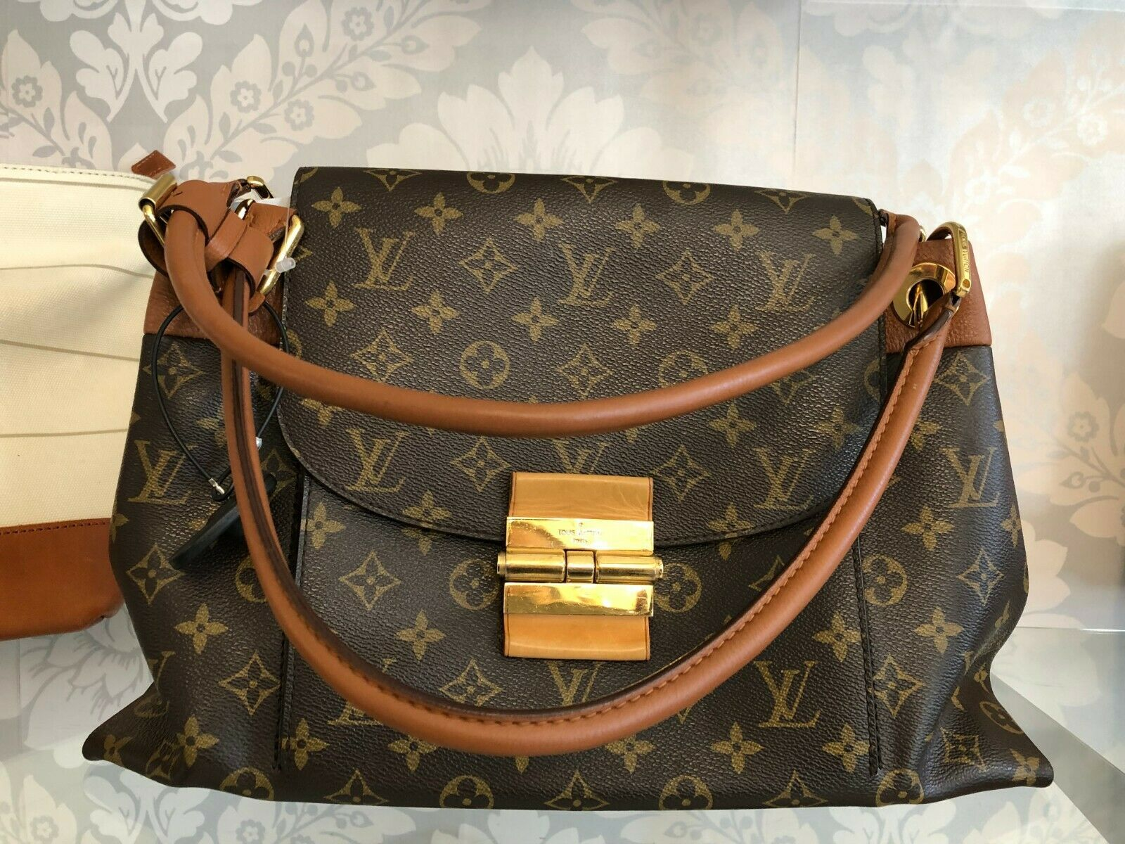 "LOUIS VUITTON ""Olympe MM"" Monogram Canvas & Leather Shoulder Bag w/Buckle $3400"