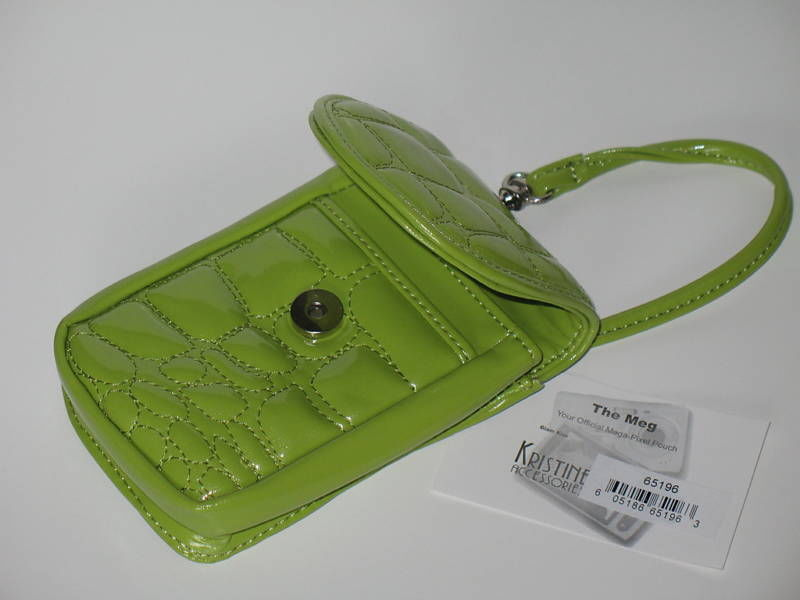 Puff Mini Purse Case New Green Wristlet Bag Neon Lime Color by Kristine image 4
