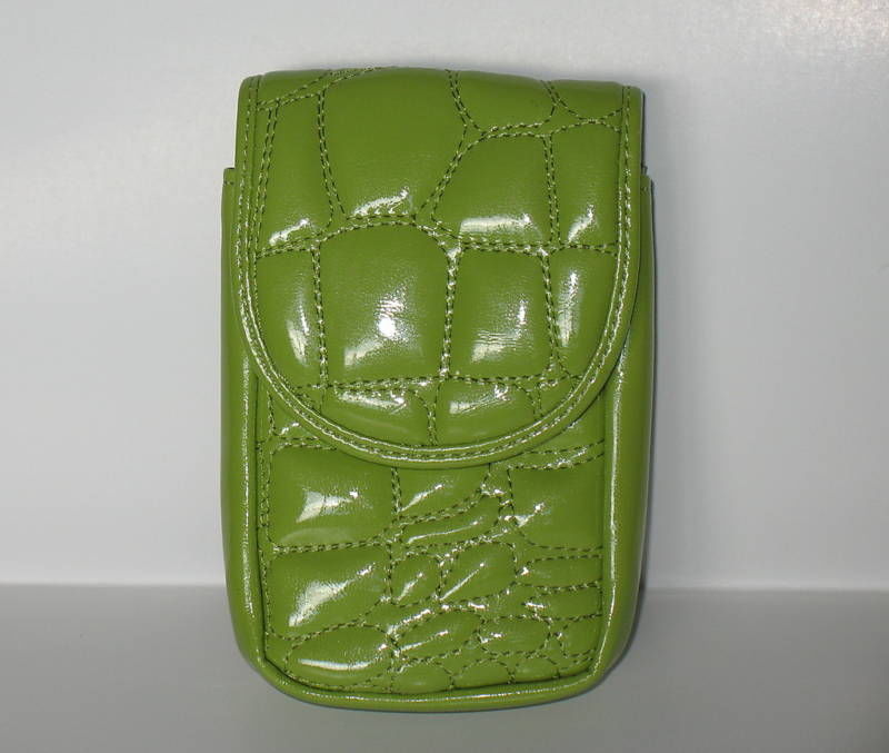 Puff Mini Purse Case New Green Wristlet Bag Neon Lime Color by Kristine