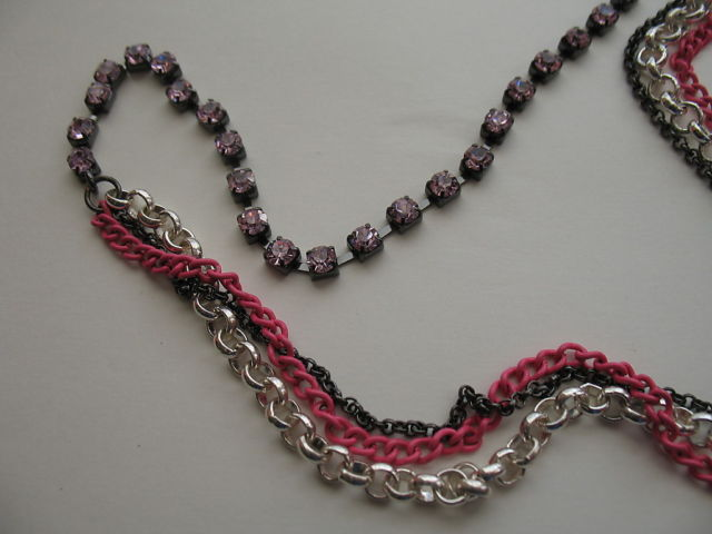 Harajuku Lovers New Chain Necklace Black Pink Silver NWT Pink Crystals $75.00
