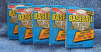 1987 Fleer MLB Baseball Cards 5 Sealed Wax Packs New Trading Cards Collectible