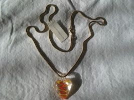 Murano Glass Heart Pendant Necklace Charter Club Gold Snake Chain 22 inc... - $12.59