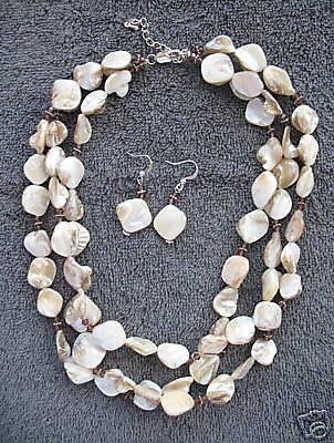 Shell Necklace & Earrings Set New Swarovski Crystals Triple Strand Jewelry