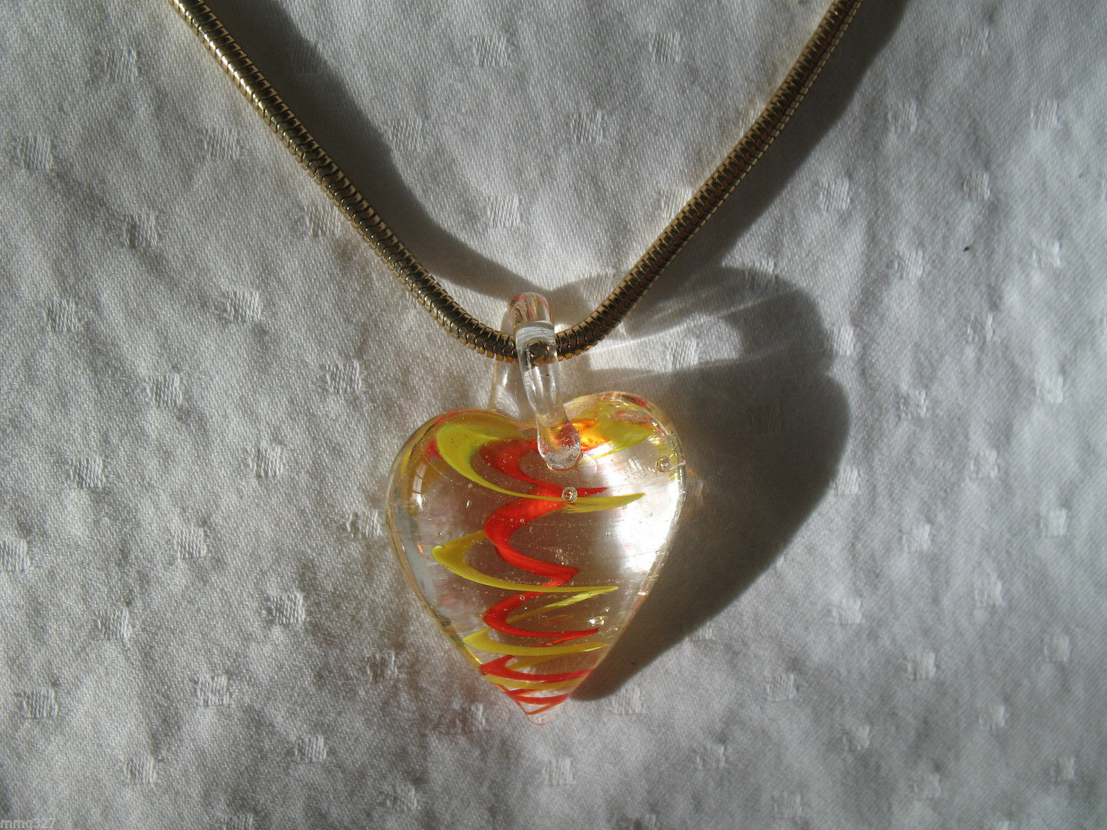 Murano Glass Heart Pendant Necklace Charter Club Gold Snake Chain 22 inch New