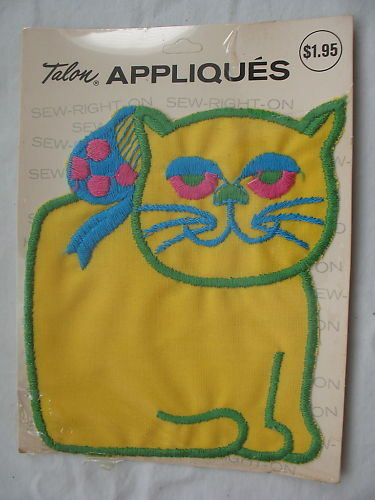 Talon Appliques Vintage Cat Kitty Kitten Yellow New Poly Cotton Original Package
