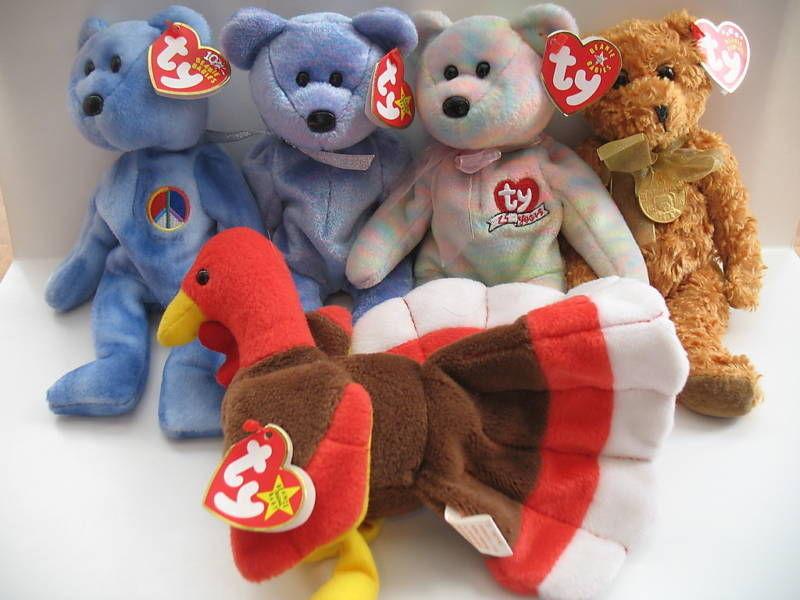 Ty Beanie Babies Peace Clubby 2 Celebrate Teddy Gobbles Turkey Five Plush NM