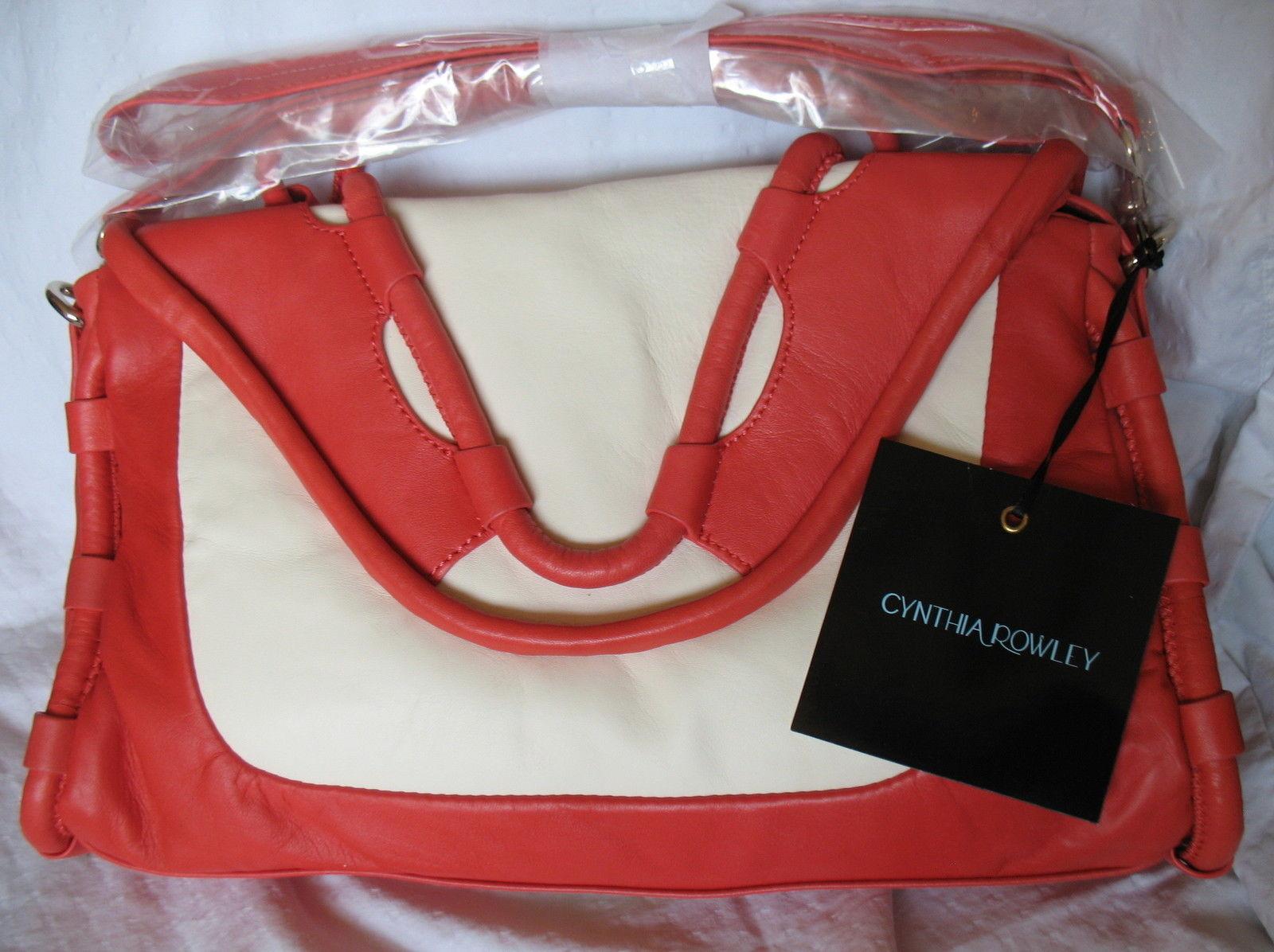 Cynthia Rowley New Purse Handbag Leather Crossbody Calloway Orange Coral White