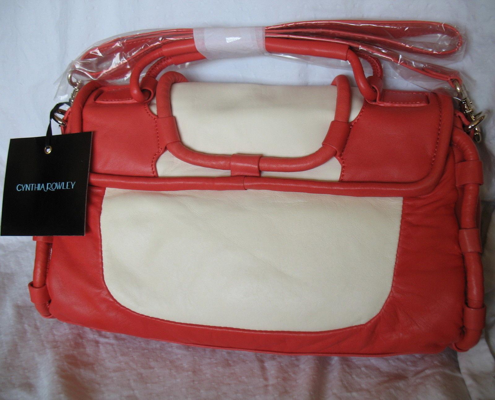 Cynthia Rowley New Purse Handbag Leather Crossbody Calloway Orange Coral White image 2