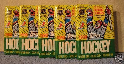Topps 1990 Hockey NHL Cards 5 Sealed Wax Packs New Bubble Gum Original Authentic