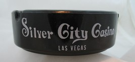Las Vegas Silver City Casino Ashtray Black Glass Vintage Nevada Collectible image 3