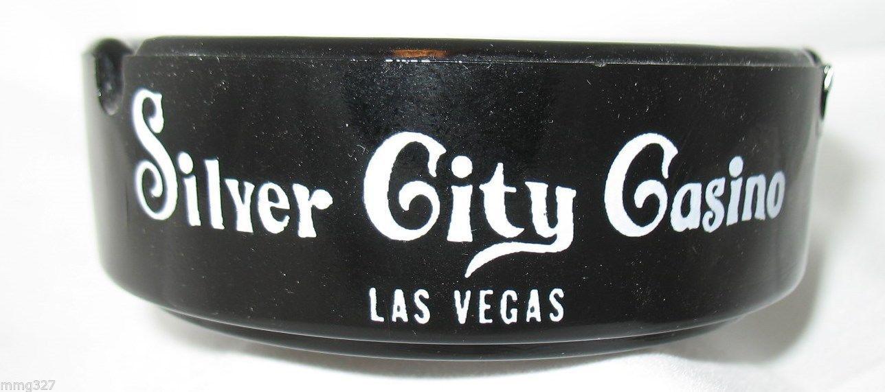 Las Vegas Silver City Casino Ashtray Black Glass Vintage Nevada Collectible